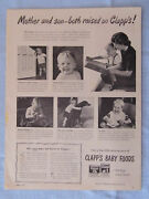 1946 Magazine Ad Page Clapp's Baby Foods Mom Son Vintage Advertisement
