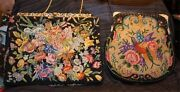 5 Antique Victorian 1910's 30sbirds  Multi-color Embroidered Tapestry Purse