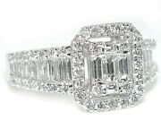 1.5 Ct Emerald Cut Illusion Baguettes And Rounds Graduated Shank Diamond Ring 14kw