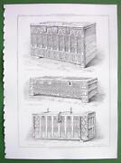 Architecture Print England Old Furniture Chests