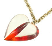 Vintage Wwii Era Really Cool Red And Crystal Lucite Heart Pendant Necklace 24