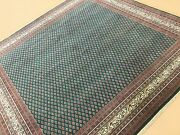 8and039 X 8and039 Square Green Beige Oriental Area Rug Geometric Hand Knotted All-over