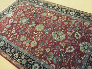 6and039 X 9and039 Red Navy Blue Fine Traditional All-over Hand Knotted Floral Foyer Wool