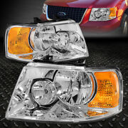 For 03-06 Ford Expedition Chrome Housing Amber Corner Headlight Replacement Lamp