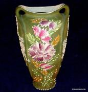 Antique Nippon Japan Heavy Moriage Hand Painted Tall Floral Vase