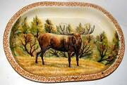 Huge 20 Hand Painted Moose Stag Oval Tray Platter Italy Art Pottery