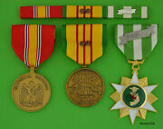 Vietnam Campaign Service National Defense Medals And Ribbon Bar 2 Campaign Stars