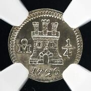 Spain Mexico Quarther Real 1/4 R Silver Money Coin 1796 Ngc Mint Quality