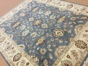 8and039 X 10and039 Light Blue Beige Fine Ziegler Oriental Rug Hand Knotted Wool All Over