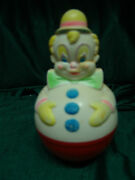 Vintage 1977 Sanitoy Roly Poly Chime Ball Clown Figure Baby Toddler Toy