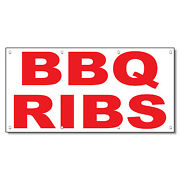Bbq Ribs Red Food Bar Restaurant Food Truck Vinyl Banner Sign With Grommets