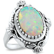White Lab Opal Antique Victorian Design 925 Sterling Silver Ring Size 8, 222