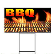 Bbq With An Image Corrugated Plastic Yard Sign /free Stakes