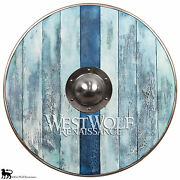 Aged Wood Viking Shield In Glacier Blue --- Sca/larp/norse/norway/antique/armor