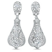 Antique Victorian Design 925 Sterling Silver White Cz Earrings 657