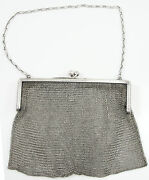 Antique R. Blackinton And Co. Sterling Silver Mesh Purse With Chain 4681 Engraved