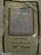 Nip Vintage Home 60 W X 36 L White Hand Embellished Sheer One Pair Of Tiers