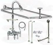 Chrome Clawfoot Tub Faucet Add-a-shower Kit W/drain-supplies And Stops - 11509