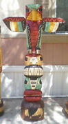 6' Totem Pole, 6 Ft Peyote Bird Carved Sculpture By Native American F Gallagher