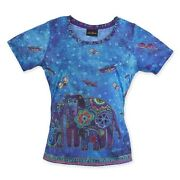 New Laurel Burch T-shirt Tee Top Canine Family Blue Puppy Dog Size M Butterfly