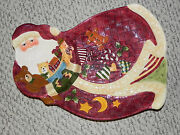 Susan Winget Santa Claus Divided Platter Serving Plate Rare And Hard To Find