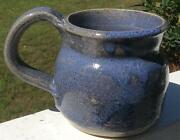 "LARGE 14 OZ HANDMADE~ART POTTERY~ MUG/ CUP~BLUE~SIGNED~3 3/4"" TALL X 3 1/4"" D"