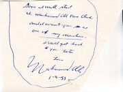 Muhammad Ali 1988 Autographed Note And Ali Farms Mailing Envelope Hand Addressed