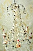 Antique French Miniature Doll House Crystal Candle Chandelier