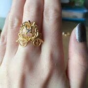 23k Solid Gold Ring Cinderella Coach Car Brand New