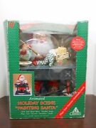 Vintage Christmas Motionette Holiday Creations Painting Santa Clown Candle Desk