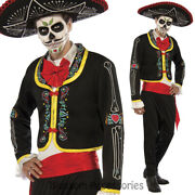 Cl976 Mens Day Of The Dead Skeletons Mexican Halloween Skull Spanish Costume