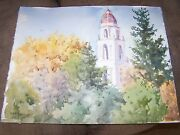 Signed Original Watercolor By Peg Humphreys, Mission 20.25 X 16.25