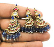 Vintage Antique Solid 20 Carat Gold Pendant And Earring Pair Rajasthan India