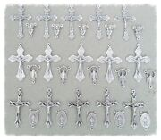 Set 30 Crucifixes Centers Rosary Italy Italian Part Supplies S115 Finish Silver