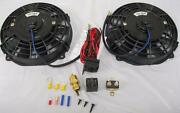 Dual 7 Inch Electric Radiator Cooling Fans + Thermostat Relay Kit Street Rod