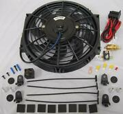 10 Curved S-blade Electric Radiator Cooling Fans W/ Thermostat And Mounting Kit