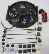 10 Heavy Duty Electric Radiator Cooling Fan W/ Thermostat Relay And Mounting Kit