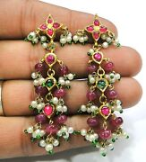 Vintage Antique Solid 20k Gold Jewelry Precious Gemstones Earring Pair India