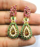 Vintage Antique Solid 18k Gold Jewelry Pearl Ruby And Emerald Gemstones Earring