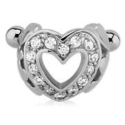 316l Surgical Steel Ear Cartilage Cuff Earring Ring Clear Cz Heart 16g