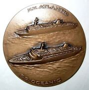 Italy / Home Lines Cruise Ship S.s. Oceanic And M.v. Atlantic / Bronze Medal N134