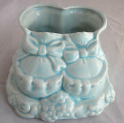 Vintage California Pottery Babys First Planter Blue Baby Shoes 1950-60