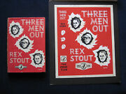 Original Dust Jacket Painting For Rex Stout's Novel Three Men Out With Book
