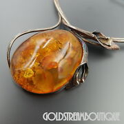 Vintage Sterling Silver Massive Baltic Amber Calla Lilly Necklace 19