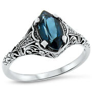 Genuine London Blue Topaz Antique Style 925 Sterling Silver Ring Size 5.25, 708