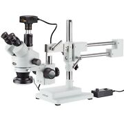 3.5x-90x Simul-focal Stereo Zoom Microscope + Boom Stand + Ring Light + 5mp Usb3