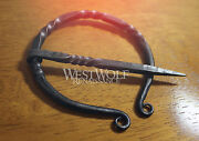 Hand-forged Scottish Twisted Black Steel Brooch Or Cloak Pin -- Celtic/viking