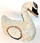 Large Federico-styled Mexican Fine Art Leather / Paper Mache White Swan Box