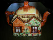 Occupied Japan Cottage Shaped Teapot Vibrant Colors Near Perfect Condition