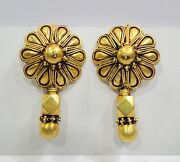 Vintage Antique Handmade Solid 18k Gold Jewelry Earring Pair India